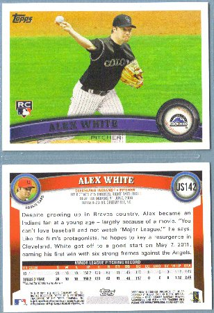 2011 Topps Update Baseball Rookie Alex White (Indians / Rockies) #US142