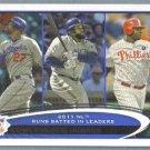 2012 Topps Baseball League Leaders Chipper Jones / Albert Pujols / Andruw Jones #192