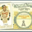 2012 Topps Allen & Ginter What's In A Name Rod Carew (Angels) #WIN63