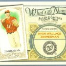2012 Topps Allen & Ginter What's In A Name Ryan Zimmerman (Nationals) #WIN73
