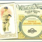 2012 Topps Allen & Ginter What's In A Name Zach Greinke (Brewers) #WIN100