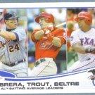 2013 Topps Baseball League Leaders Miguel Cabrera / Josh Hamilton / Curtis Granderson #153