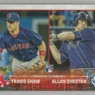 2015 Topps Update & Highlights RC Combos Travis Shaw (Red Sox) & Allan Dykstra (Rays) #US41