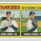 2016 Heritage Baseball Rookie Stars Greg Bird & James Pazos (Yankees) #171