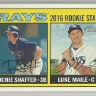 2016 Heritage Baseball Rookie Stars Richie Shaffer & Luke Maile (Rays) #176