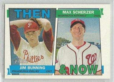 2016 Heritage Baseball Then & Now Jim Bunning (Phillies) & Max Scherzer (Nationals) # TAN-BS