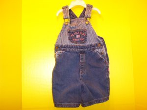 BOY / GIRL SZ 3T POLO SHORT OVERALL! TRAIN ENGINEER STripes