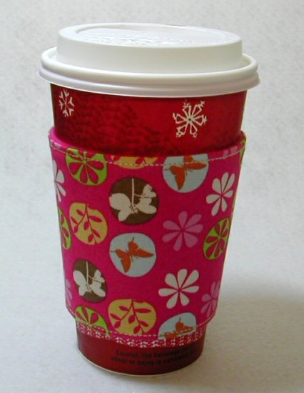 Coffee Cozy Cup Sleeve - Hot Pink Floral