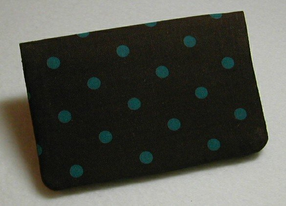 Business Card Holder - Brown with Teal Polka Dots