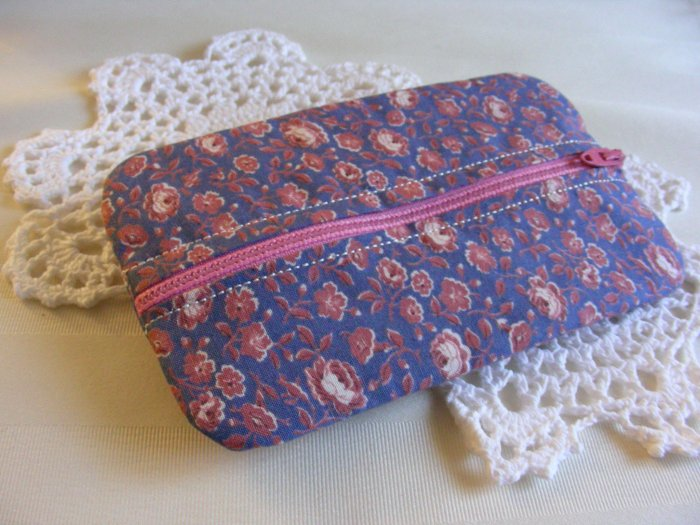 SALE Zipper Pouch - Zippy - Tissue - Jewelry Holder Blue and Pink Floral Print