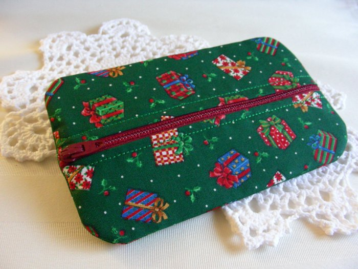 SALE Zipper Pouch - Zippy - Tissue - Jewelry Holder Holiday Print