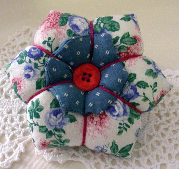 Flower Petal Pincushion - Blue Roses