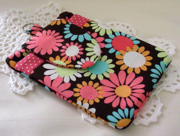 Large Cell Phone Ipod Gadget Holder - Funky Flowers Michael Miller