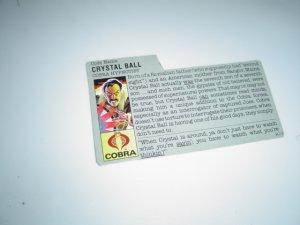 Gi Joe Cobra  file card Crystal ball 1987