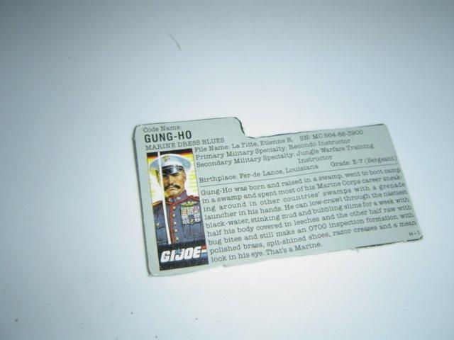 Gi Joe Cobra  file card Gung Ho 1987
