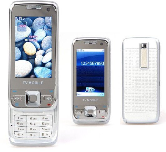 E66 Style Silver/White Dual sim dual standby TV Quadband Cell Phone Plus 1GB. TF  Nokia E66 Style