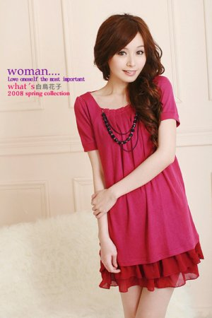 Sleeve dress w necklace (D8850)