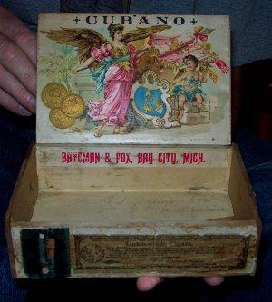 "RARE-- O.L. Schwenke ""Cubano"" Wooden Cigar Box"