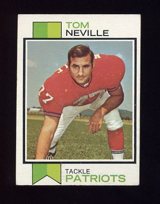 1973 Topps Football #329 Tom Neville - New England Patriots