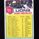 1973 Topps Football Team Checklist #9 Detroit Lions