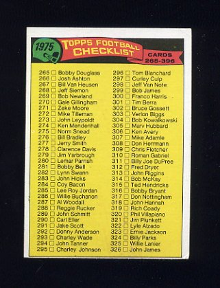 1975 Topps Football #376 Unmarked Checklist 265-396