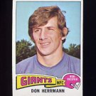 1975 Topps Football #308 Don Herrmann - New York Giants