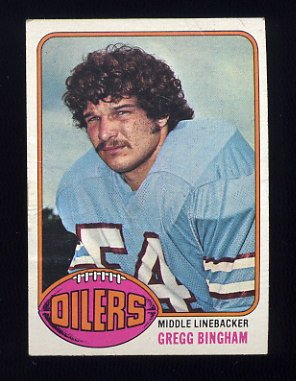 1976 Topps Football #103 Gregg Bingham RC - Houston Oilers