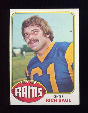 1976 Topps Football #077 Rich Saul RC - Los Angeles Rams