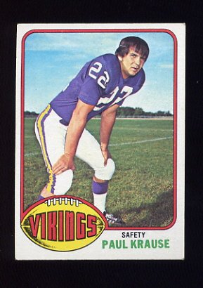 1976 Topps Football #065 Paul Krause - Minnesota Vikings ExMt