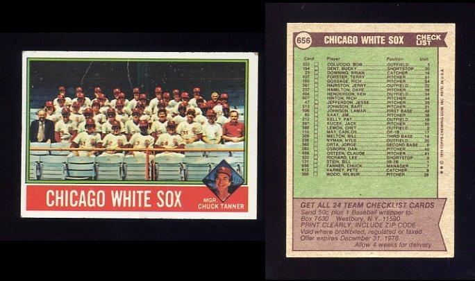1976 Topps Baseball #656 Chicago White Sox CL / Chuck Tanner GVg