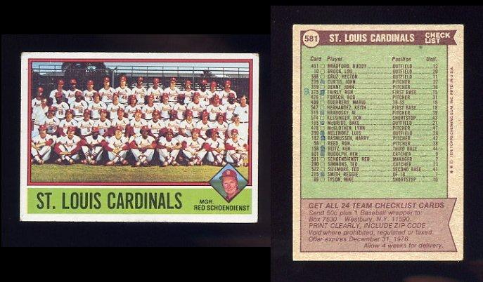 1976 Topps Baseball #581 St. Louis Cardinals CL / Red Schoendienst