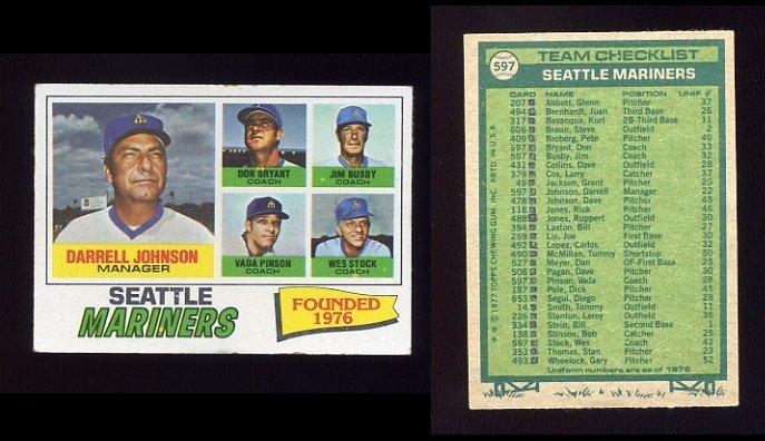 1977 Topps Baseball #597 Seattle Mariners CL / Darrell Johnson