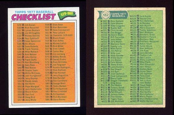 1977 Topps Baseball #562 Checklist 529-660