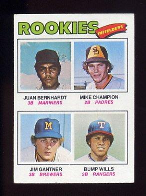 1977 Topps Baseball #494 Jim Gantner RC / Bump Wills RC / Mike Champion / Juan Bernhardt