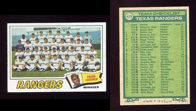 1977 Topps Baseball #428 Texas Rangers CL / Frank Lucchesi