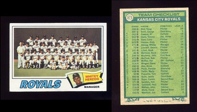 1977 Topps Baseball #371 Kansas City Royals CL / Whitey Herzog