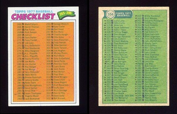 1977 Topps Baseball #356 Checklist 265-396