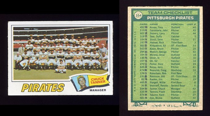 1977 Topps Baseball #354 Pittsburgh Pirates CL / Chuck Tanner