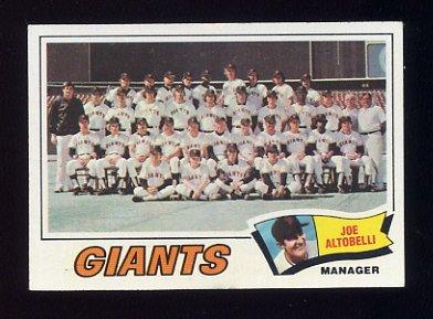 1977 Topps Baseball #211 San Francisco Giants CL / Joe Altobelli