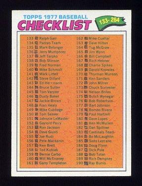 1977 Topps Baseball #208 Checklist 133-264