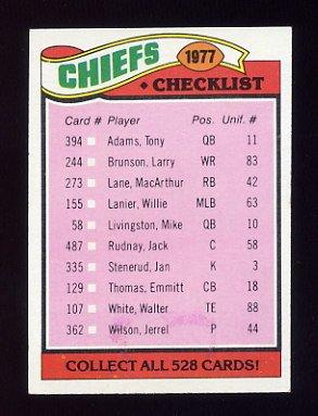 1977 Topps Football #212 Kansas City Chiefs CL