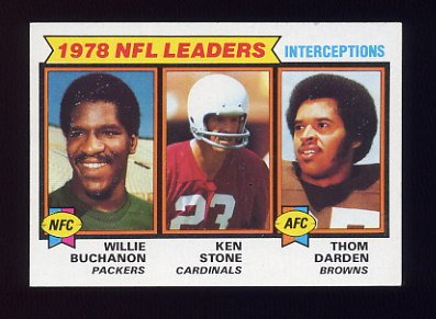 1979 Topps Football #005 Interception Leaders /  Willie Buchanon / Ken Stone / Thom Darden