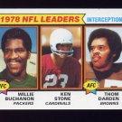 1979 Topps Football #005 Interception Leaders /  Willie Buchanon / Ken Stone / Thom Darden