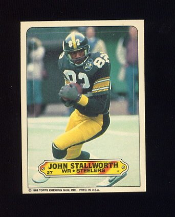 1983 Topps Sticker Inserts Football #27 John Stallworth - Pittsburgh Steelers