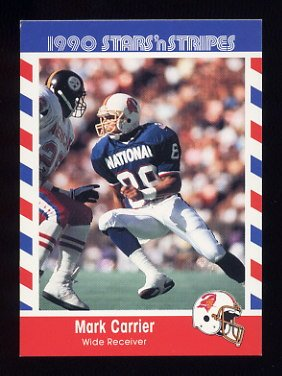 1990 Fleer Stars and Stripes Football #76 Mark Carrier - Tampa Bay Buccaneers