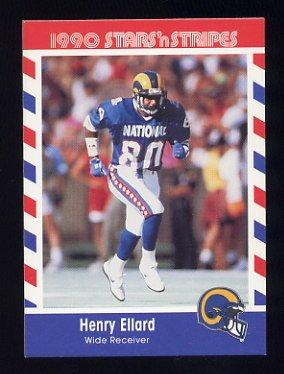 1990 Fleer Stars and Stripes Football #71 Henry Ellard - Los Angeles Rams