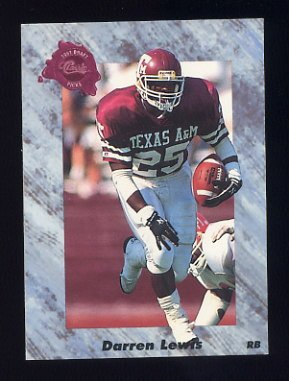 1991 Classic Four Sport Football #208 Darren Lewis - Chicago Bears