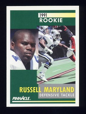 1991 Pinnacle Football #288 Russell Maryland RC - Dallas Cowboys