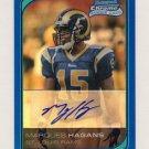 2006 Bowman Chrome Football Rookie Autographs Blue Refractors #244 Marques Hagans RC - Rams /75
