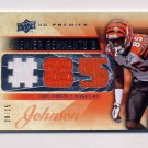 2008 Upper Deck Premier Remnants Triple Jersey Number #PR3CJ Chad Johnson - Game-Used Jerseys /25